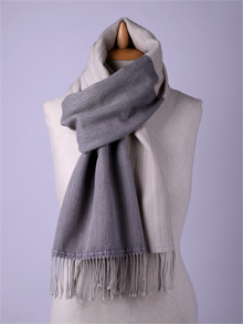ILLANGO FASHION, HANDWOVEN SCARVES, merino wool scarf with silver threads